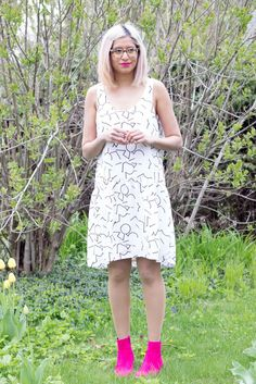 Eve Gravel Clothing Bauhaus Cream Pomo Print Drop Waist Dress Made in Montreal Canadian Fashion Victoire Boutique
