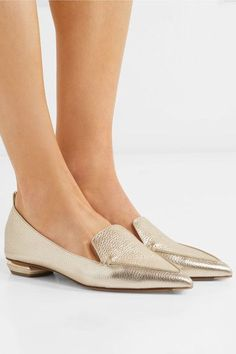 ca2d9ec5a22 Nicholas Kirkwood - Beya metallic textured-leather point-toe flats
