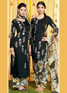 Black Pure Cotton Satin Patiala Suit