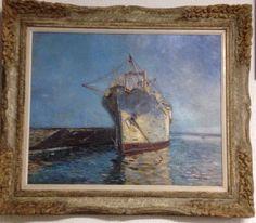 Oswaldo Teixeira, Marinha, Óleo Sobre Tela, med 0.87 x 1.00 cm, Assinatura Canto Inferior Direito.