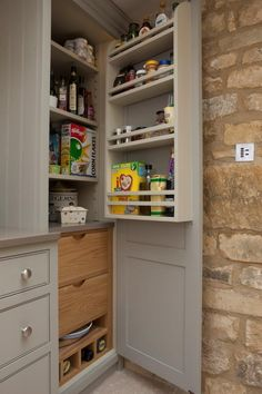 Symes Interiors specialise in bespoke kitchens and joinery, fine interiors and renovation works. Helping our clients create a beautiful home. Kitchen Cupboards, Kitchen Storage, New Kitchen, Kitchen Decor, Kitchen Ideas, Secret Storage, Hidden Storage, Pantry Room, Bespoke Kitchens