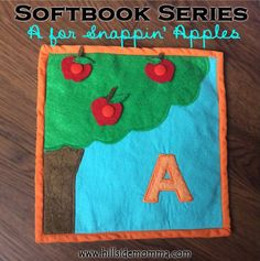 """""""A"""" is for apples. This is a great page to add to a quiet book. The apples snap on and off the tree. Pattern and tutorial at http://www.hillsidemomma.com/?p=33. Snaps and tools available at www.KAMsnaps.com."""
