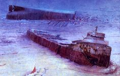 From the film DRAIN THE GREAT LAKES -  the wreck of the Edmund Fitzgerald revealed, broken in half at 530 feet down in Lake Superior.