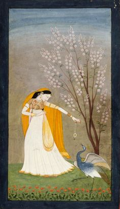 """'Vipralabdha Nayika"""" (one deceived by her lover), also spelt Vipralabhdha, is a deceived heroine, who waited for her lover the whole night. She is depicted throwing away her jewellery as her lover did not keep his promise. Kangra, Himachal Pradesh, 20th century."""