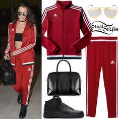 Bella Hadid was spotted arriving at CDG airport in Paris wearing a Tiro 15 Training Jacket ($65.00) and Tiro 15 Training Pants ($45.00) both by Adidas, Dior Split Two-Tone Sunglasses ($555.00), a Givenchy Lucrezia Lizard and Textured Patent Leather Bag (Not available online) and Nike Air Force 1 Mid Sneakers ($95.00).
