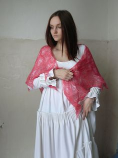 FREE SHIPPING Lace Handknitted Triangular Shawl Scarf Wrap, Leaves Shawl, Pink, Red, Coral Color , kid-mohair, gift for women