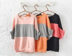 """I don't usually like """"bat-wing"""" style shirts but those are so cheap and nicely colored I don't think I mind it. Casual Bat-Wing Sweatshirts, $7 