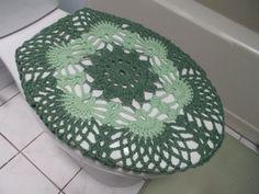 Crochet Toilet Seat Cover- light sage/honeydew