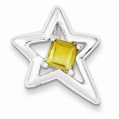 Sterling Silver Polished Star Citrine Pendant