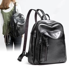good quality Winter Leather Backpack Women School Bags For Girls Travel Students Mochila Bolsa Multiple Zip Pockets Malas De Senhora
