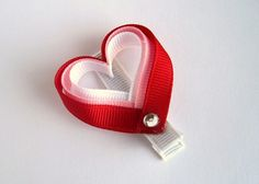 Hair Clip Heart Ribbon Sculpture by punkyNmunky on Etsy, $5.00