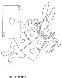 Alice in wonderland-white rabbit Paper Embroidery, Vintage Embroidery, Cross Stitch Embroidery, Embroidery Patterns, Alice In Wonderland Crafts, Coloring Books, Coloring Pages, Copic, Hand Sewing