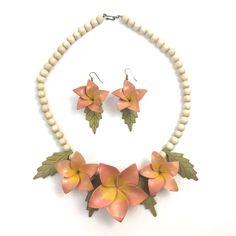Vintage Wooden Flower Statement Necklace Earrings Tropical Boho Hawaiian Pink #Unbranded