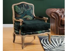 Fauteuil en velours et tissu MAHAUX vert imprimé tropical Upholstered Chairs, Wingback Chair, Sofa, Buffet Hutch, Room Colors, Living Room Interior, Accent Chairs, Upholstery, Dining Room