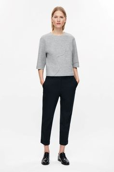 COS Boxy raw-cut top in Grey. Minimalist grey top | Simple grey top | Cropped black trousers | Cropped black pants | Minimalist woman | Minimalist style | Capsule wardrobe | Intentional living | Slow fashion |  Simplicity | Less is more