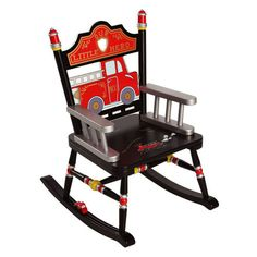 Black Fire Engine Rocker by Levels of Discovery. So cute for a little fireman room! A seat/rocker just for Kaiden! Fireman Nursery, Fireman Room, Firefighter Room, Firefighter Crafts, Firefighter Pictures, Nursery Boy, Nursery Ideas, Bedroom Ideas, Childrens Rocking Chairs