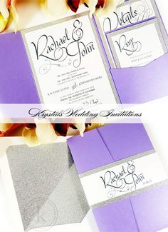 The Rachael Glitter Suite - Modern and Formal Pocketfold Wedding Invitations - Krystals Wedding Invitations #weddings #weddinginvitations