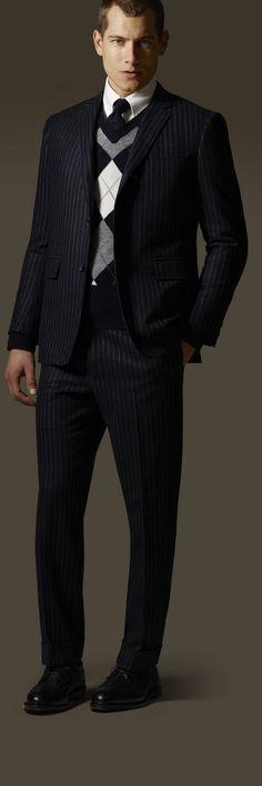 Pinestripe suit + argyle = sharp. Brooks Brothers