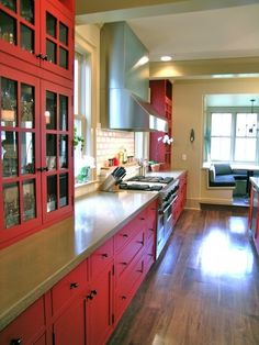 Red kitchen cabinets by dandelion dreams