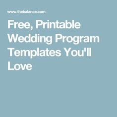 Free, Printable Wedding Program Templates You'll Love
