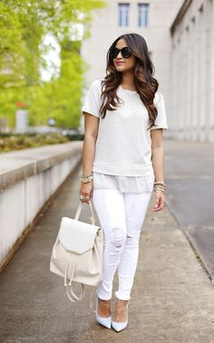 danielle nicole backpack, white denim, backpack, monochromatic #hauteofftherack #whiteout all white outfit