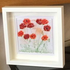 Glass Floral Wall Hanging, Glass Art Flowers , Picture of a field of poppies, Wall Hanging, Home decor, Wall Art, Gift for her  17/9 by WarmGlassFusion on Etsy