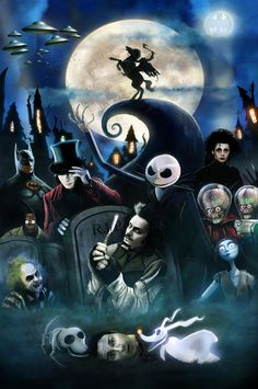 Nightmare B4 Christmas Bash / Tim Burton movies / - by `DanLuVisiArt / Sweeney Todd, Corpse Bride, Charlie, Sleepy Hollow, Mars Attacks!, Batman, The Nightmare Before Christmas, Edward Scissorhands, Beetlejuice