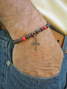 RESERVED FOR BOB Men's Bracelet with Black Lava, Red Howlite, Bronze Czech Glass and Copper Gothic Cross - Gothic Man Bracelet