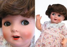 Dora  Antique Flirty Eye Character Baby Doll  by aquamarinedream, $110.00 Antique Dolls, Vintage Dolls, Baby Dolls, Eye, Antiques, Trending Outfits, Handmade Gifts, Character, Antiquities