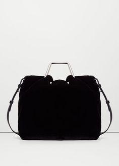 Crossed faux-fur bag