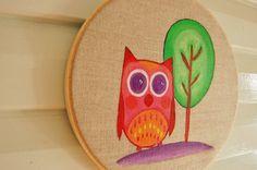 Owl and tree linen canvas hoop art