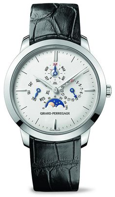 Girard-Perregaux 1966 Perpetual Calendar Watch.  Deceptively simple and pretty; an excellent use of minimalism over a brand like Vacheron Constantin. The 1966 Perpetual Calendar watch comes with an automatic in-house movement and also a moon phase indicator in 18k white or rose gold.