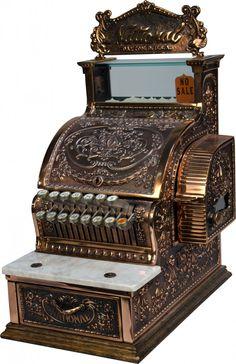 National Cash Register Model No. 317, brass w/ copper finish on oak base, Serial No. S135733J - Sold $700