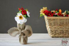 Felt Flowers, Felt Flower Bouquet, Valentines Decor, Spring Felt Flower Arrangement, Burlap Flower Bouquet, Wedding Decor, Wedding Favors
