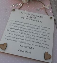 Daughter Wedding Day Gift Bride Personalised Plaque by AandFCrafts