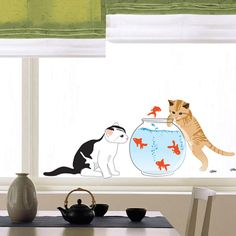 Cat Wall Stickers Fish Wall Decor for Kids Rooms. $4.99