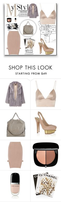 """""""∞ Tibi Shearling Toscana"""" by andrea-moen ❤ liked on Polyvore featuring TIBI, T By Alexander Wang, STELLA McCARTNEY, Charlotte Olympia, Jonathan Simkhai, Marc Jacobs, Assouline Publishing and Chanel"""