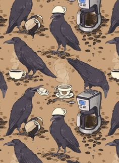 Ravens and coffee / Coffee Art / Coffee Shop Stuff Illustrations, Illustration Art, Fotografia Vsco, Book Art, Raven Art, Crows Ravens, Art Graphique, Cute Art, Art Inspo