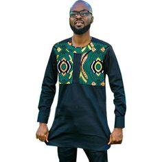 African Men Clothing Stand Collar Shirt Dashiki Kitenge Ankara Patchwork On Black Top Nigerian Men Fashion, African Men Fashion, Mens Fashion, African Print Shirt, Stand Collar Shirt, Clothes Stand, Ankara Tops, Men Wear, Dashiki