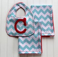 Chevron Stripe Burp Cloths and Monogrammed Bib by mylittlemookie, $32.00