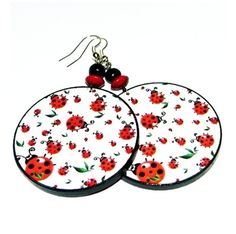 Romantic earrings ladybugsredrainbow circles by SzaraLotka on Etsy, $12.00