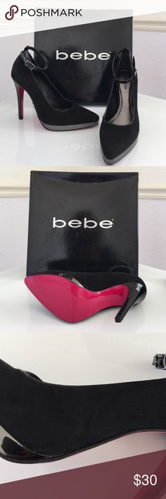 "Brand new BEBE Black LINDA Pumps Size 5 Brand new BEBE Black LINDA Pumps. Size 5, faux suede upper, patent ankle straps with BEBE logo on the buckle, gun-metal 1/2"" platform, black 4.5"" patent heel with pink bottoms. Slight indents on left pump with slight scuffing on outer part above platform (pictured). bebe Shoes Heels"