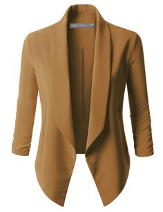 Sharpen your wardrobe with this lightweight open front draped tuxedo blazer jacket. A softly draped open-front silhouette softens the look while the asymmetrical hem adds a modern touch to this blazer. This blazer is perfect for either professional environment or for casual wear. Feature - 97% Polyester / 3% Spandex - Lightweight, ultrasoft material for comfort / No closure - Draped front / Asymmetrical hem / 3/4 Ruched sleeves - Shorter length - Machine wash or hand wash cold / Do not…