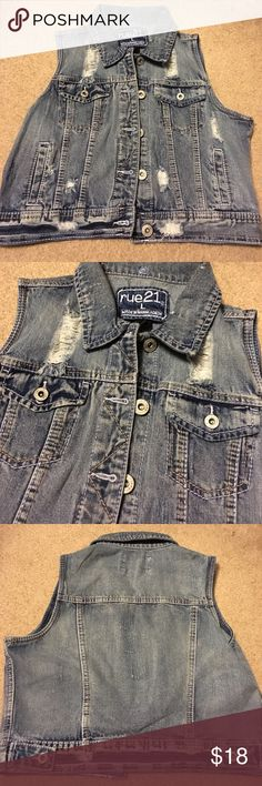 Rue 21. Denim Vest. Junior large. Rue 21 Jean Vest. Size is large. New no tags. Rue 21 Jackets & Coats Vests