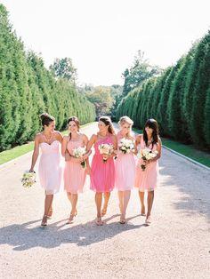 bridesmaids looking pretty in pink Donna Morgan dresses