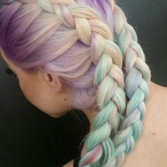 Rainbow pastel boxer braids hair Check out these gorgeous 28 Rainbow hair colors ideas and get inspired! Pretty Hairstyles, Braided Hairstyles, Rainbow Hairstyles, Summer Hairstyles, Hairstyle Ideas, Latest Hairstyles, Boxer Braids, Dye My Hair, Mermaid Hair