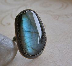 Large Labradorite Statement Ring, Sterling Silver Metalwork Ring, Boho Ring, Rustic Jewelry, Cocktail Ring