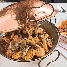 Learn how to make Seafood Cataplana . MyRecipes has tested recipes and videos to help you be a better cook Fish Dinner, Seafood Dinner, Fun Cooking, Cooking Recipes, Quick Fish, Portuguese Recipes, Portuguese Food, Fire Roasted Tomatoes, Seafood Recipes