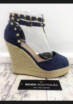 026a408c0c77 Put your best foot forward this spring with these gorgeous designer  inspired suedette studded espadrille wedges