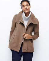 """Faux Leather Funnel Neck Jacket - Generously infused with wool, layer on the luxe this winter with haute hues and sophisticated textures. Funnel stand collar with faux leather trim underneath. Long sleeves. Hidden zip front. Front exposed zip pockets with faux leather trim. Lined. 26"""" long."""